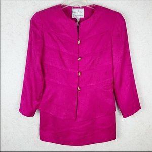 Adrianna Papell Sage Silk pink blazer skirt set